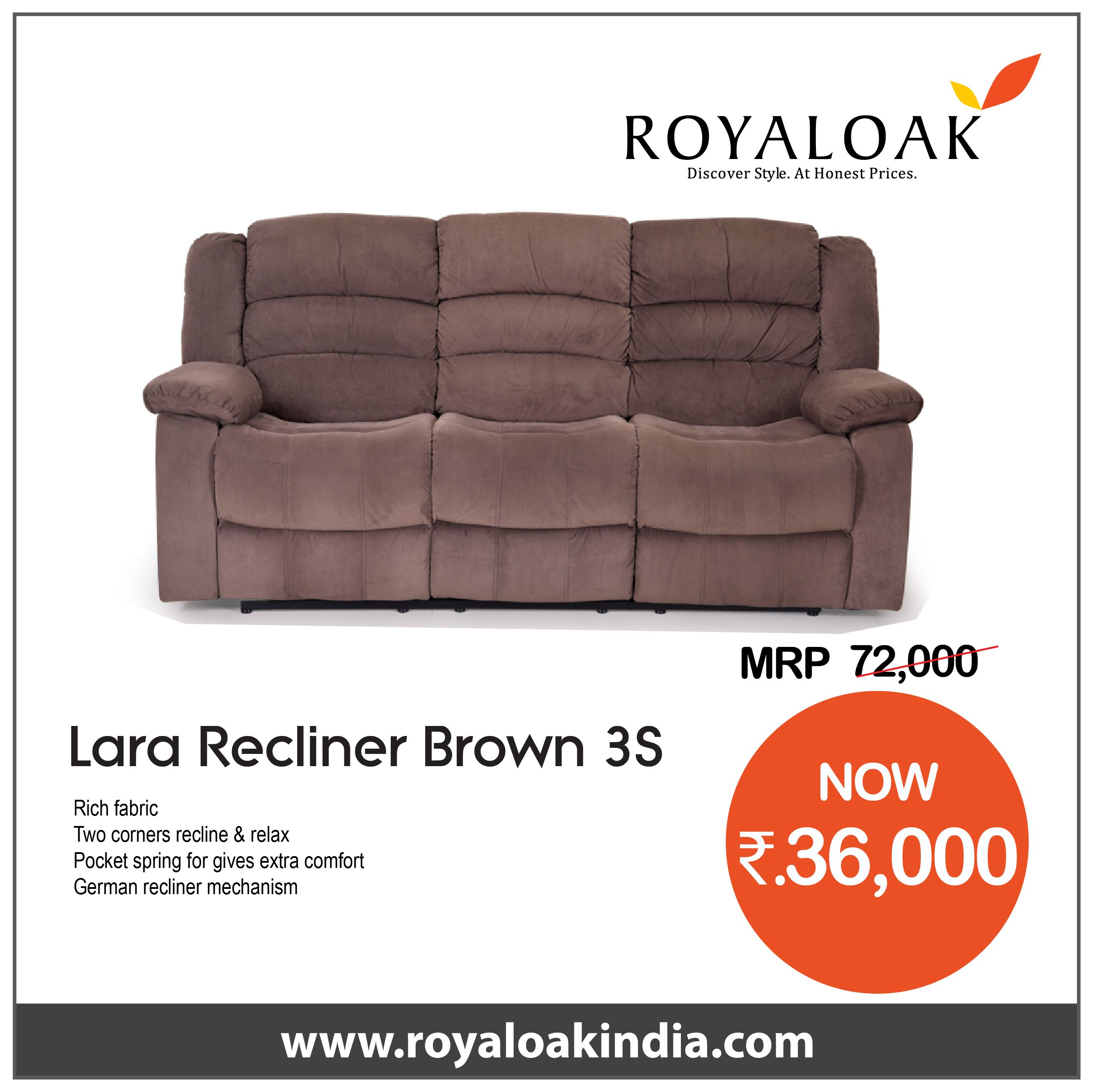 Pin By Royaloak Furniture On Royaloak Three Seater Recliner Rich Fabric Recliner Leather Fabric