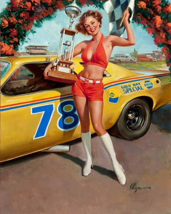 Vintage 60's Pin Up Girl with trophy next to race car by Gil ...