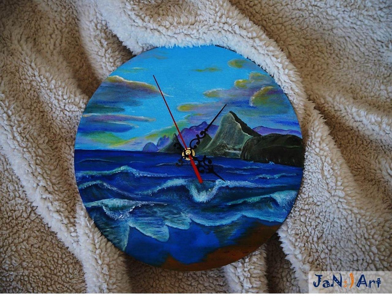 Hand Painted Wall Clock, Handmade, Sea, Handmade Clock, Wood Clock ...