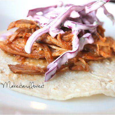 Sweet Pork Tacos with Cilantro Lime Slaw #cilantrolimeslaw