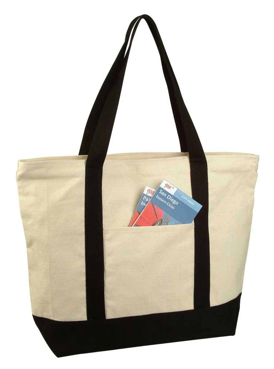 """22/"""" LARGE Deluxe Zippered Cotton Canvas Reusable Grocery Shopping Tote Totes Bag"""