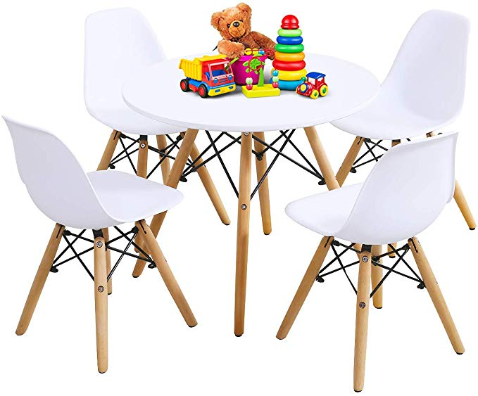 Amazon Com Costzon Kids Table And Chair Set Kids Mid Century Modern Style Table Set In 2020 Kids Dining Table Modern Table And Chairs Mid Century Modern Table Chairs