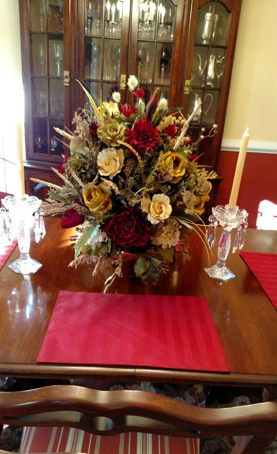 Elegant Xl Floral Arrangement Floral Rose Centerpiece Shipping Included Tuscan Large Silk Floral Foyer Table Dining Room Formal Floral Tuscan Decorating Floral Arrangements Dining Room Table Decor