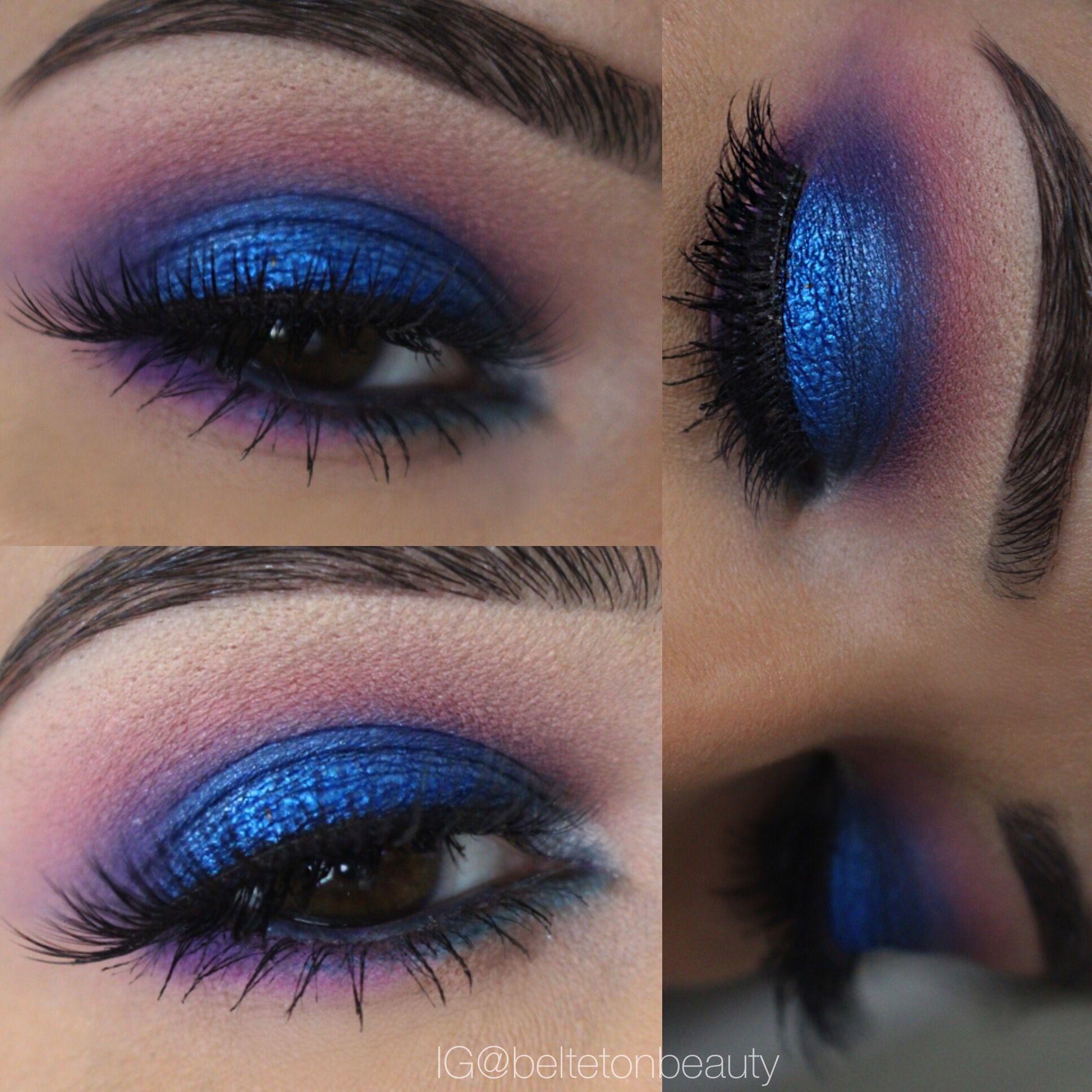Blue pigment, blue eyeshadow on brown eyes. Pink, purple and blue ...