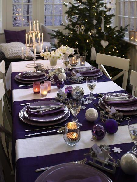 purple and silver christmas table | purple, white and silver table ...