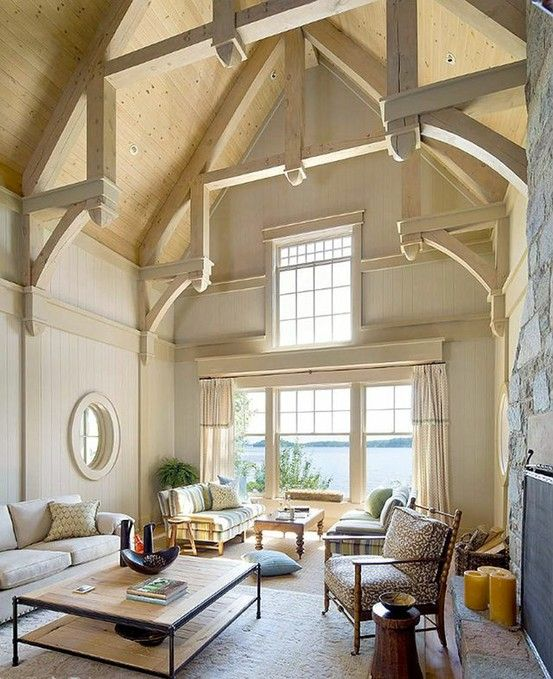 Vaulted ceilings, beams in open space great room with views! ~ Coastal Comfort Decor