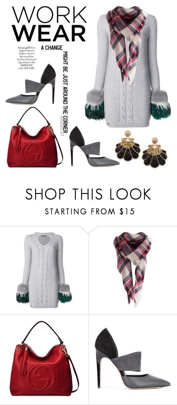 """""""Work Wear"""" by hastypudding ❤ liked on Polyvore featuring Philipp Plein, Behance, Gucci, Calvin Klein, contest, scarves, polyvorecommunity, fashionset and AmiciMei"""
