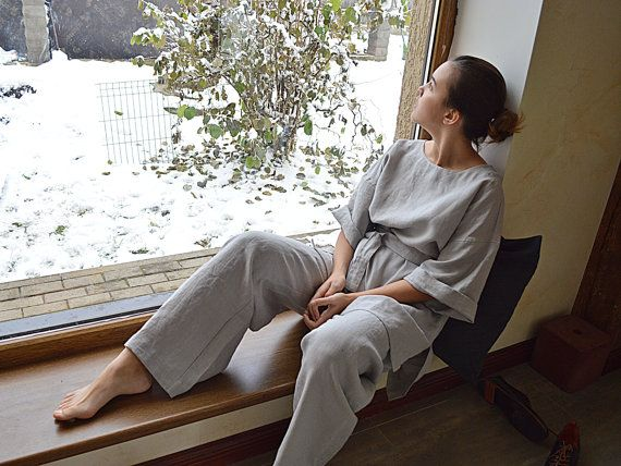 Pure Linen tunic and pants set  Light grey Linen от pureWHITEspa