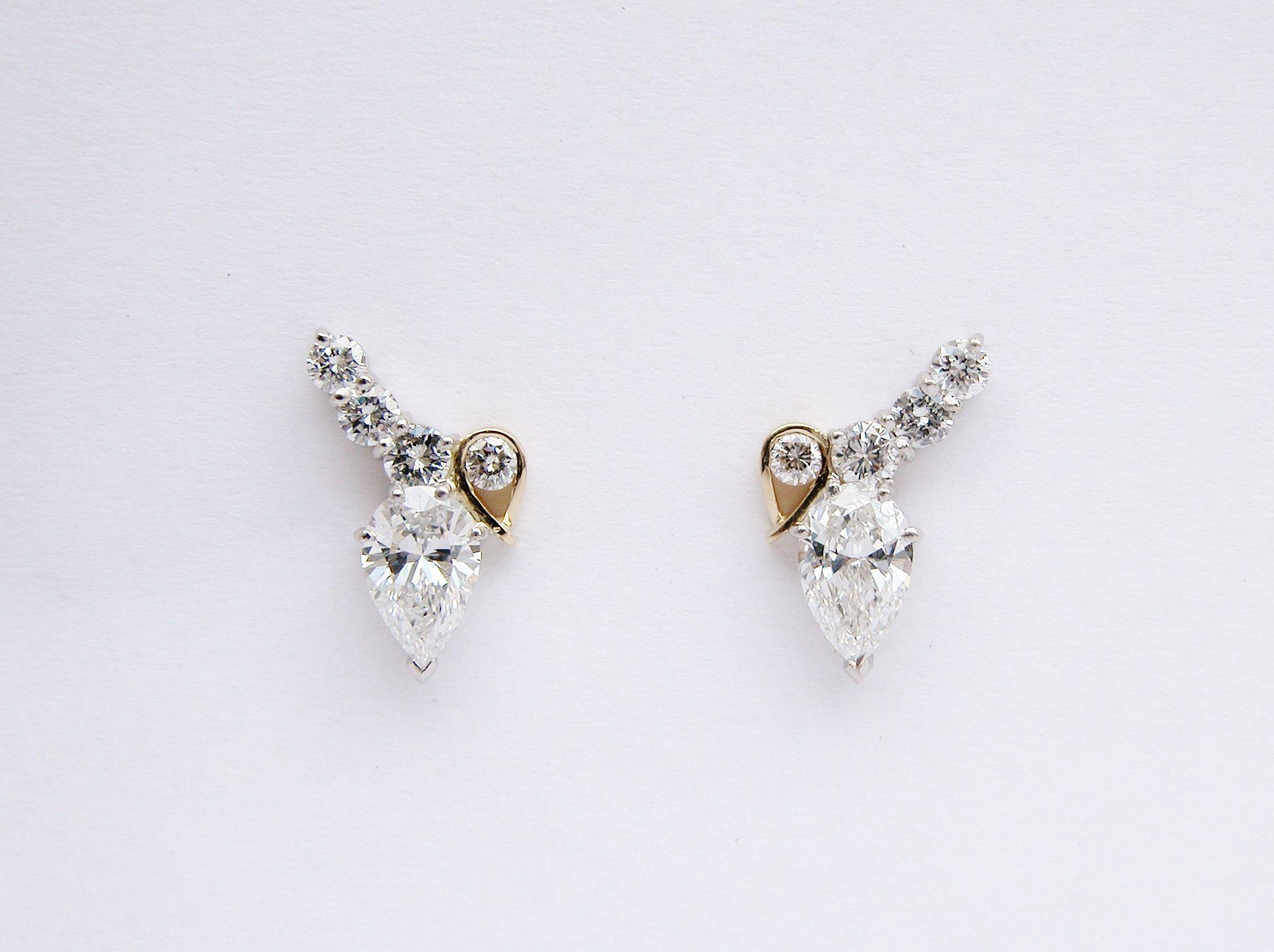 Platinum & 18ct yellow gold pear shaped diamond &round brilliant