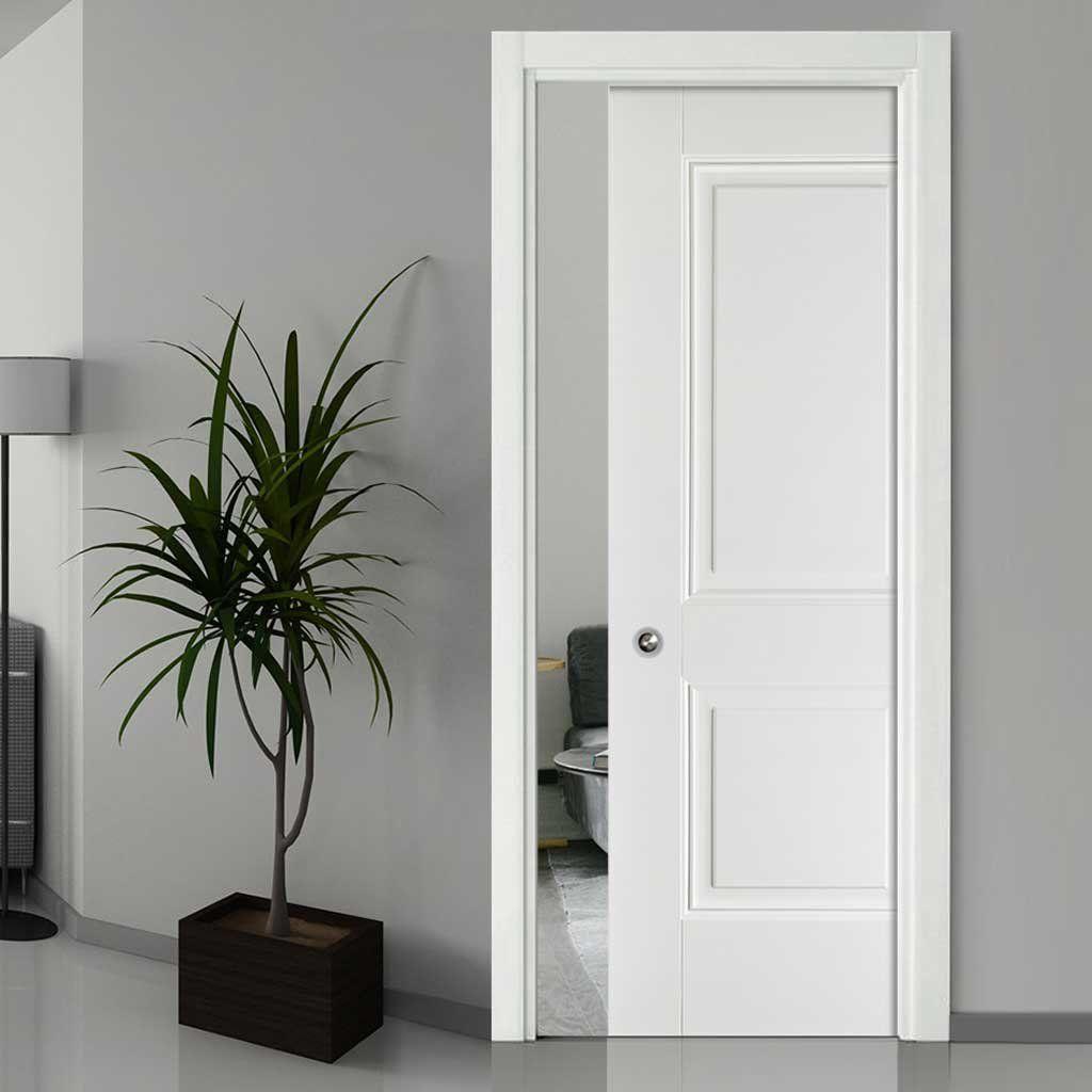 Arnhem 2 Panel Single Evokit Pocket Door White Primed Pocket Doors White Paneling Sliding Pocket Doors