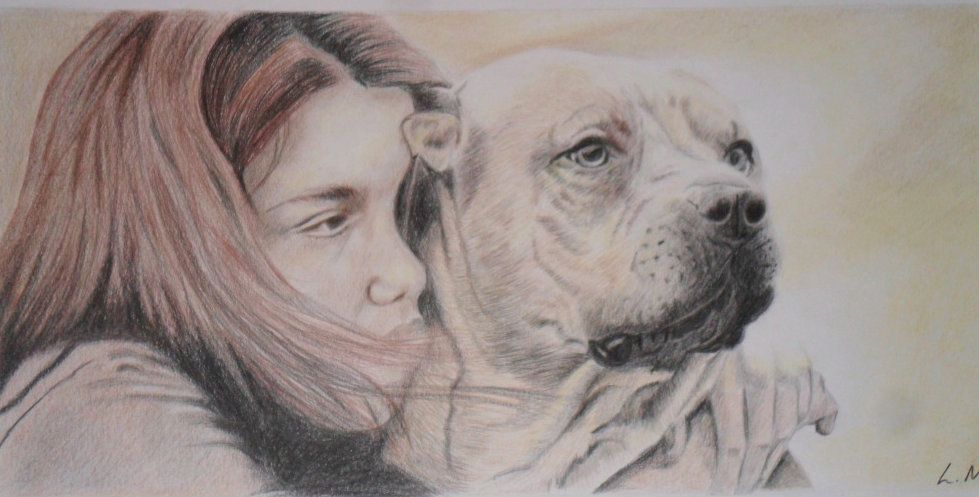 sad girl with dog free hand pencil drawing | my own