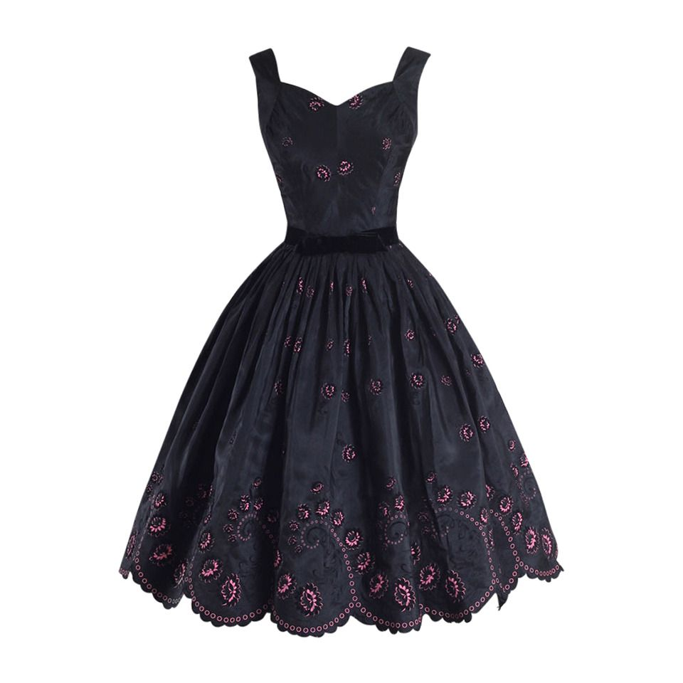 Vintage s black pink flocked cocktail dress from a collection