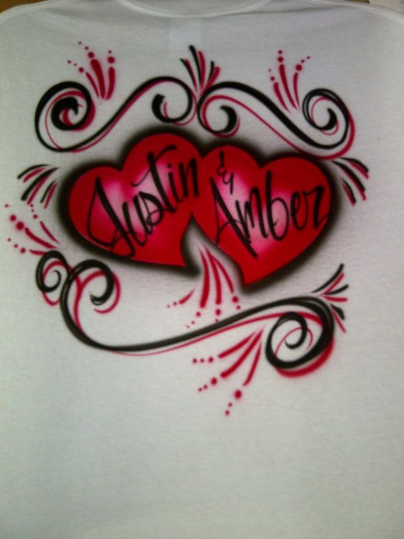10866c265727 Airbrush Couples Red & Black Heart Shirt Personalized w/ Names S M L XL  XXL. $12.99, via Etsy.