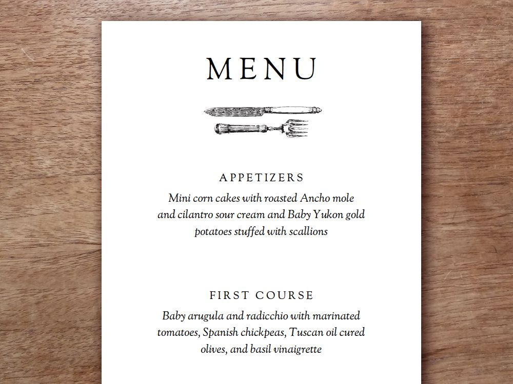 Printable Menu - Kate & Wills | Printable Menu, Menu Templates And