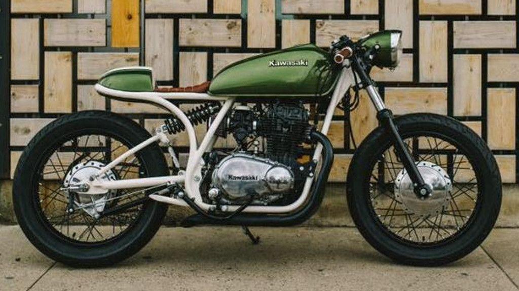 Green metallic Kawasaki restoration -1980 KZ440 with Harley ...