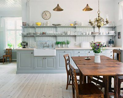 Grey And Blue Kitchen guest post from design dna: hearth and home | open shelves