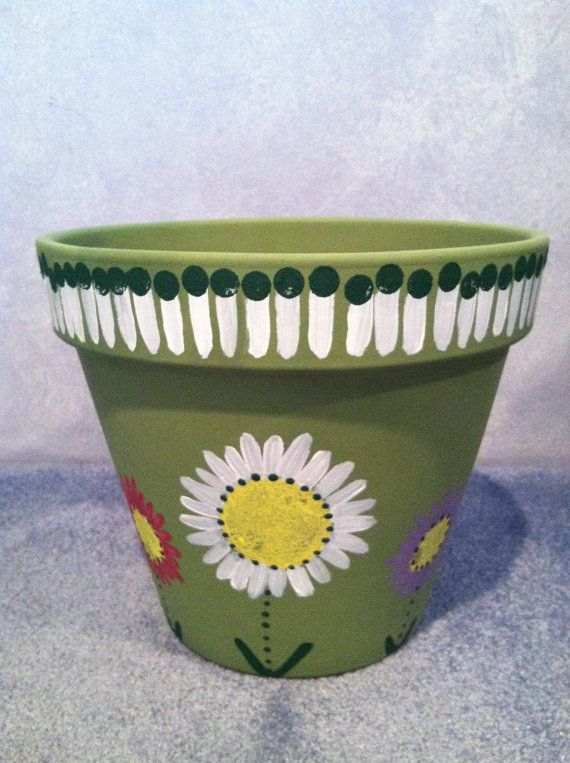 Hand Painted 12 Inch Flower Pot By Livelaughlooloo On Etsy 30 00 Pneus Vasos