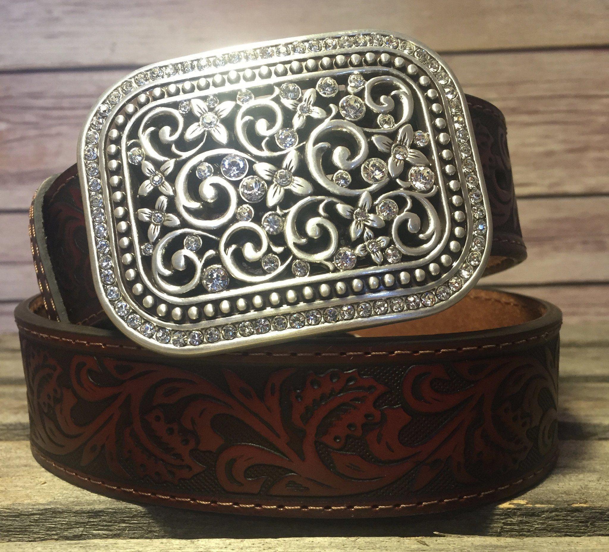 Ariat Western Womens Belt Leather Calf Hair Scroll Tan A1521808