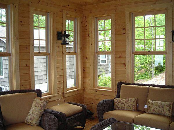 3 Season Porch Furniture love this three season room with wood paneled walls. so rustic and
