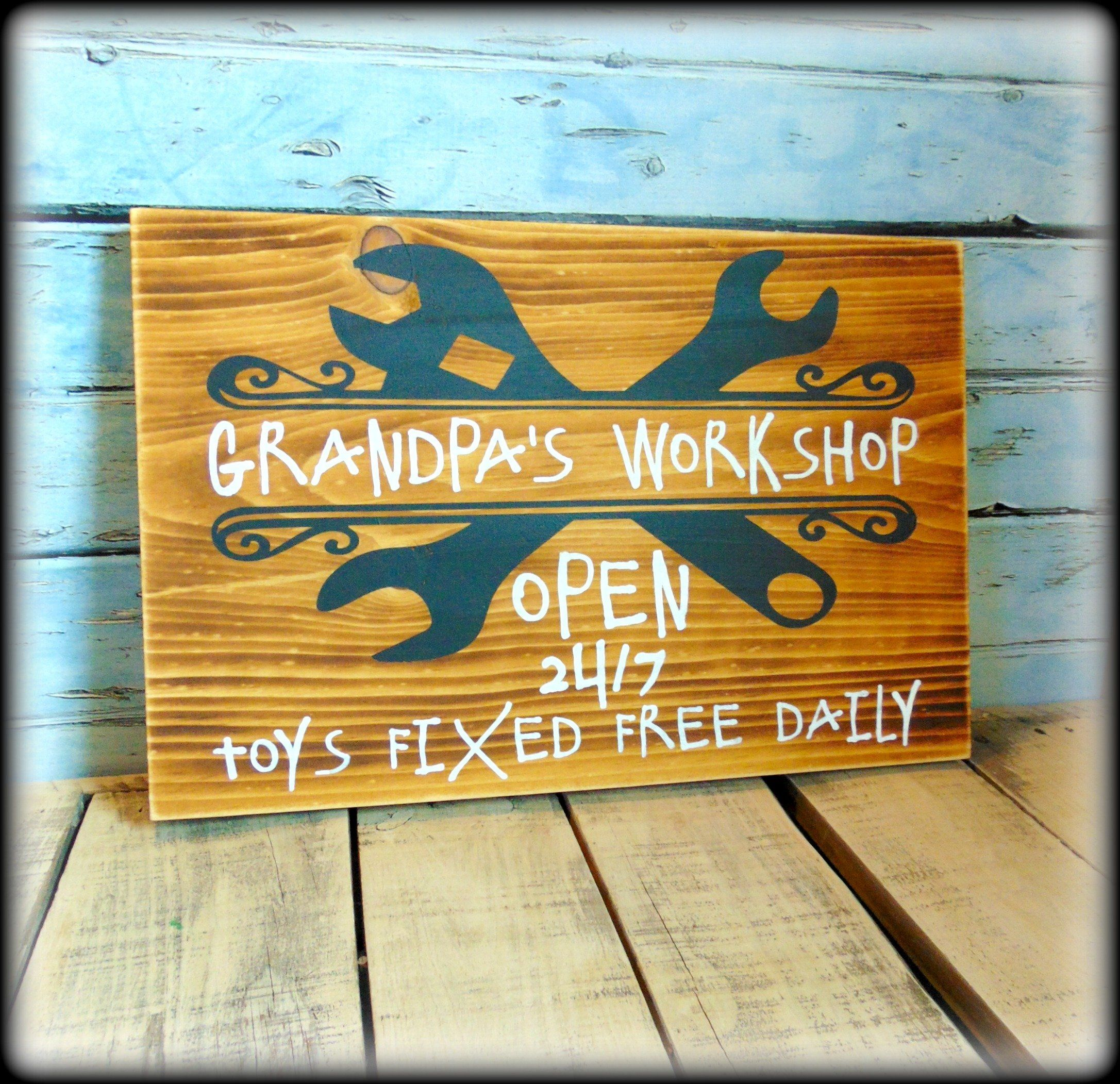 Funny Gift For Grandpa, Rustic Workshop Sign, Garage Decor | Funny ...