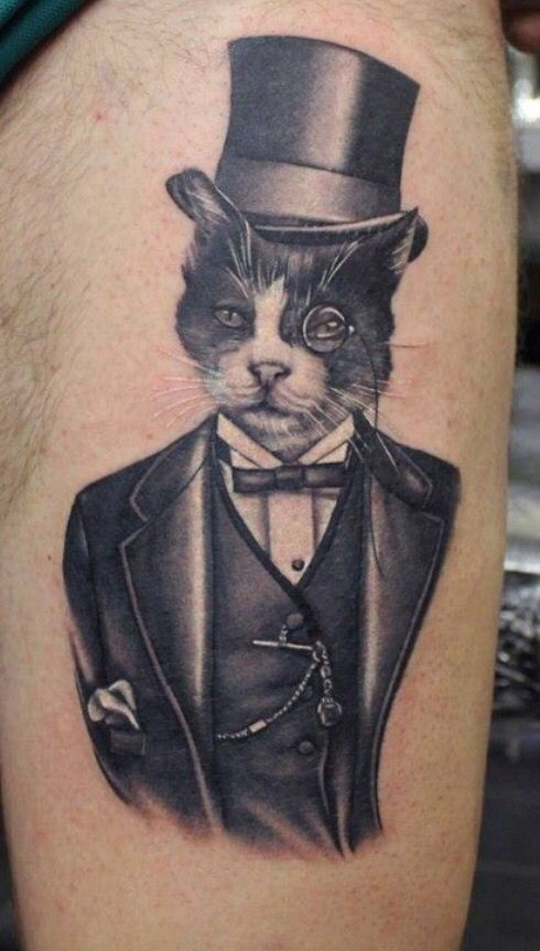 1dc775036 Gentleman cat tattoo | Animal Tattoos | Cat tattoo, Gentleman tattoo ...