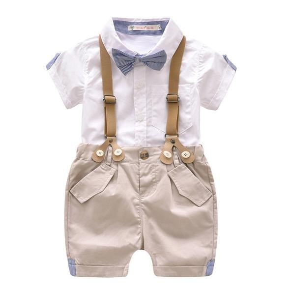 c4fd341f3 Summer Baby Boy Gentleman Clothes Set Infant Short Tshirt+Suspender ...