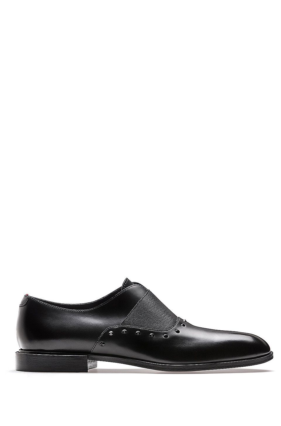 Hugo Boss Slip On Leather Dress Shoes With Stud Detailing Black Casual Shoes From Hugo For Men In The Black Casual Shoes Leather Dress Shoes Dress Shoes Men [ 1456 x 960 Pixel ]