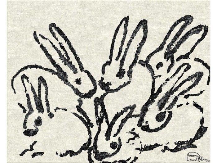 Hunt Slonem exclusive carpet for Groundworks, Hop Along. #carpet #bunny #fundesign