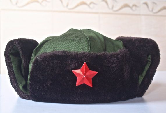 81a337e78f7 Vintage Olive Green Communist Ear Flap Hat   Vintage Chinese Army ...