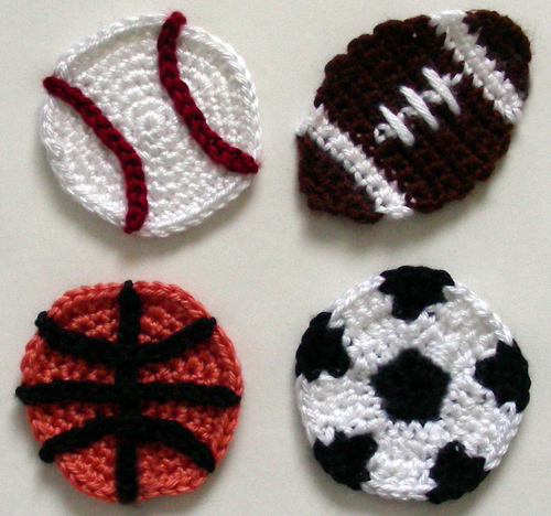 crochet spot soccer basket ball baseball football crochet projects pinterest. Black Bedroom Furniture Sets. Home Design Ideas
