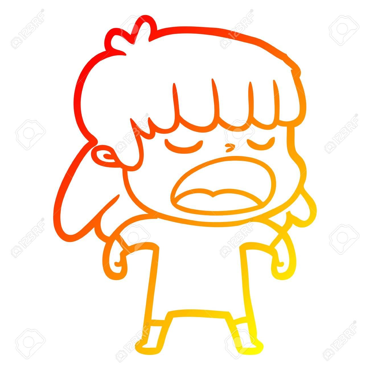 warm gradient line drawing of a cartoon woman talking loudly ,