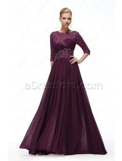 ed9abd575 Magenta Bridesmaid Dresses Long Sleeves Modest Formal Dress Plus ...