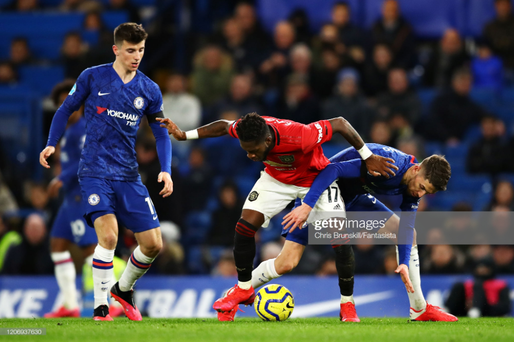 Fred Of Manchester United Is Challenged By Jorginho Of Chelsea During In 2020 Manchester United Manchester Challenges