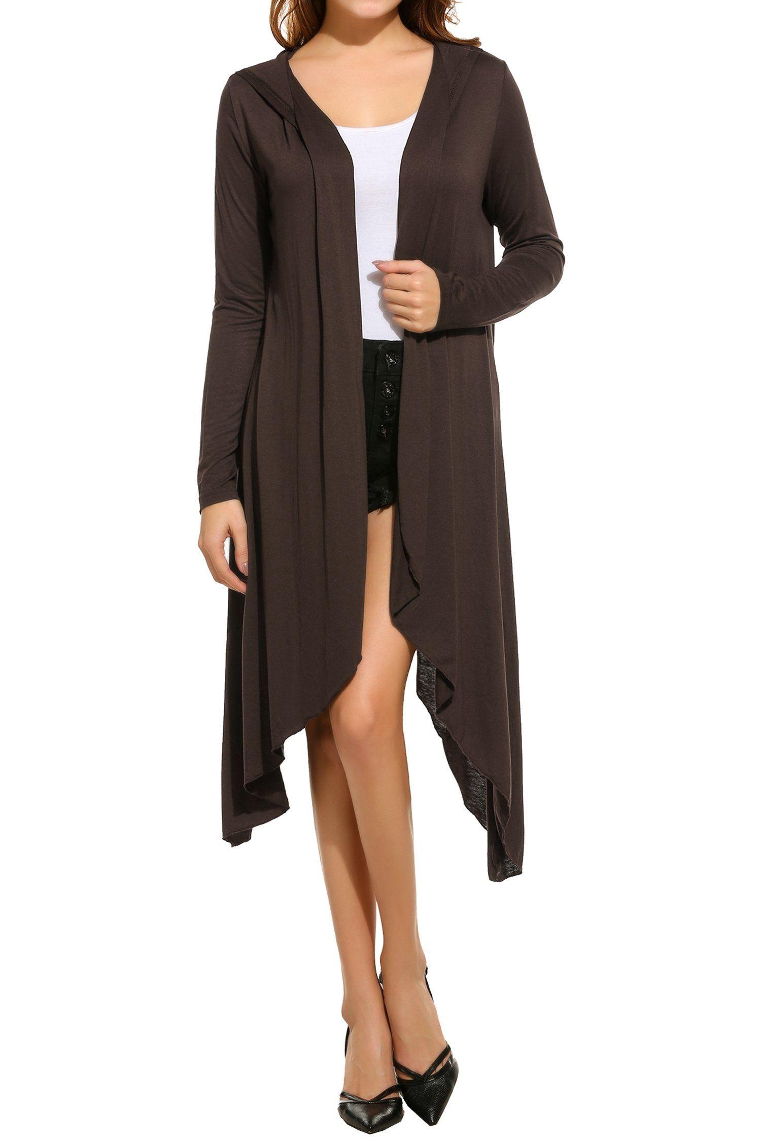 Meaneor Meaneor Women's Basic Long Sleeve Drape Open Long Maxi ...