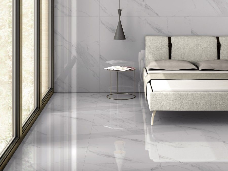 white marble effect gloss porcelain wall and floor tile on wall tile id=89235