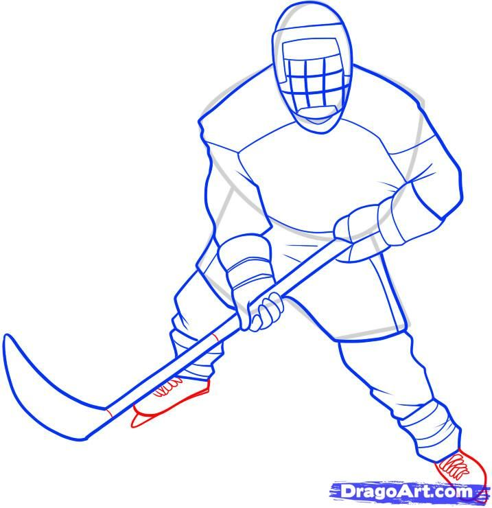 Step 8 How To Draw A Hockey Player Hockey Drawing Step By Step Drawing Hockey Players