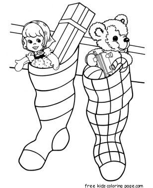 Christmas Stockings Filled With Toys Coloring Pages Fonts