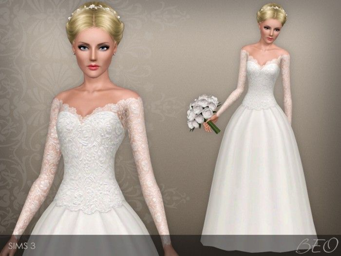 wedding dress 39beo - sims 3 downloads cc caboodle | sims 4
