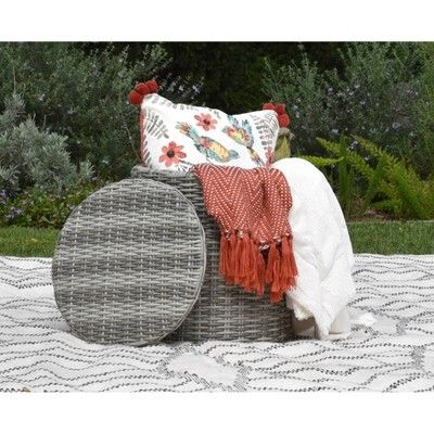 Docor Who Christmas 2020 Vallauris Outdoor Storage Side Table   Gray Wicker   Adore Docor
