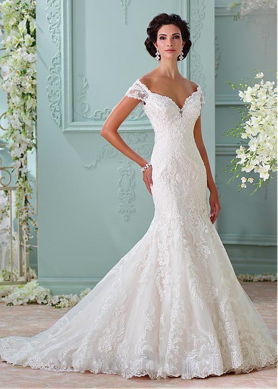 Fabulous Tulle Off-the-Shoulder Neckline Mermaid Wedding Dresses ...