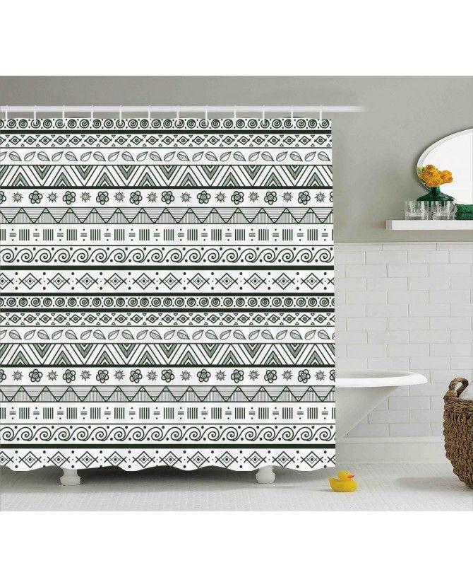 Aztec Patterns Shower Curtain Primitive Bathrooms Primitive