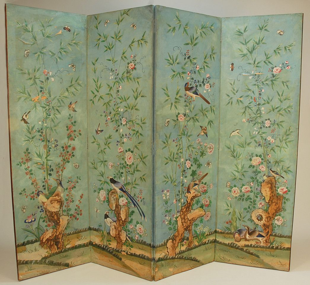 Chinese Painted Paper Four Panel Screen 18th C