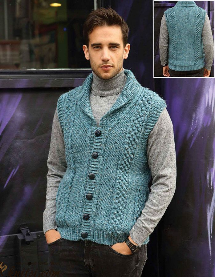 Sleeveless jacket knitting pattern free knitsi.com/vest-for-men/358 ...