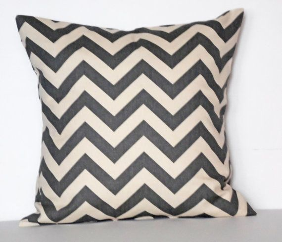 Pillow SALE Single 18x18 Charcoal Gray and Natural Chevron