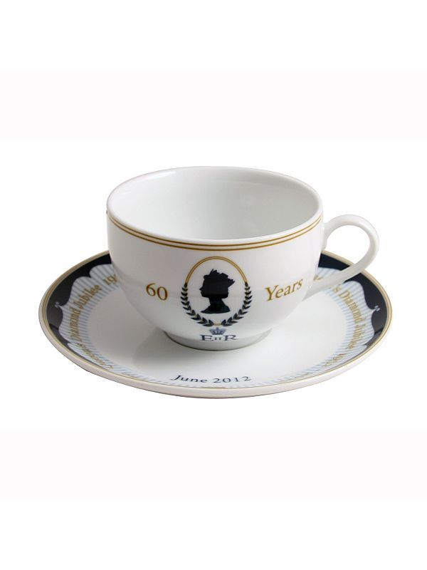 The Sabichi Diamond Jubilee commemorative tea cup and saucer is produced in high quality super white porcelain and features a design placed underneath the glaze for a smooth finish that is dishwasher safe.    This beautiful design  has been approved by Buckingham Palace. The set is supplied in a quality printed presentation sleeve and provides a wonderful lasting memory of this special occasion