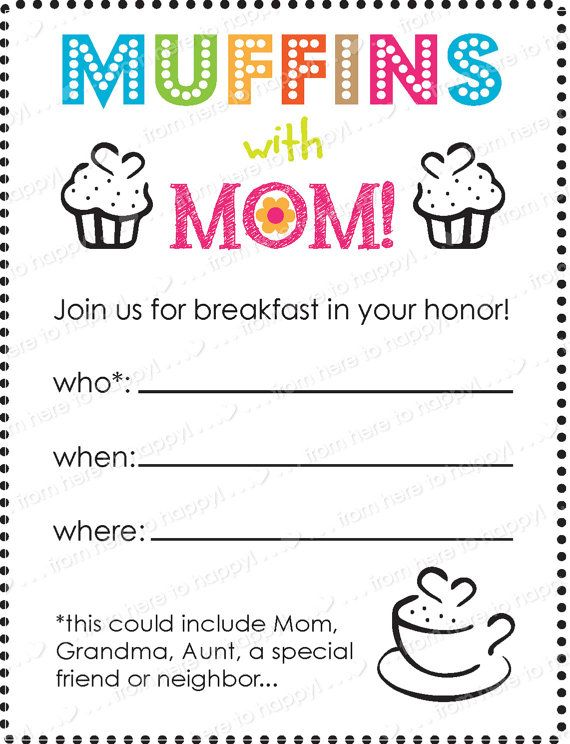 Muffins with mom teacher pta mother 39 s day flyer invite gift tags activity sheets mother - Muffins fur kindergarten ...