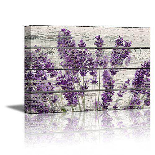 Framed Purple Lavender Flowers Canvas Wall Art Vintage Wood Picture Prints Decor Purple Wall Art Lavender Walls Retro Home Decor