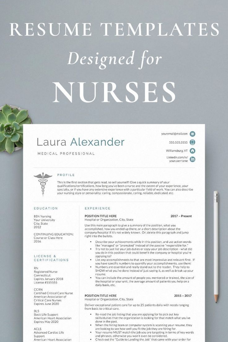 Nurse resume templates in 2020 nursing resume template