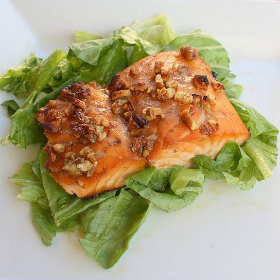 honey and pecan glazed salmon. Yum