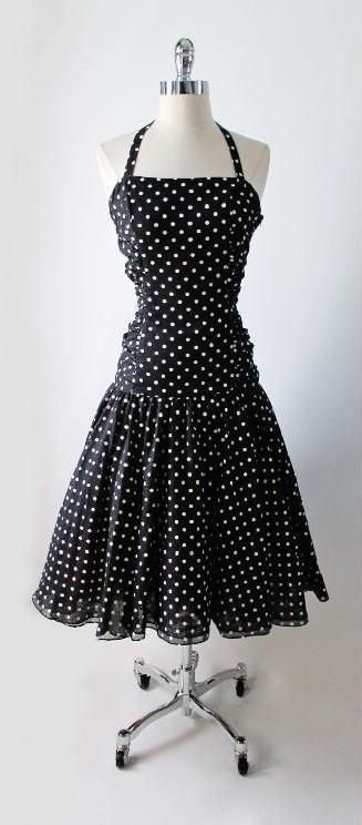 Vintage 50's Inspired 80's Black White Polka